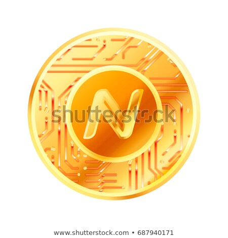 Bright golden coin with microchip pattern and Namecoin sign. Cryptocurrency concept on white Stock photo © evgeny89