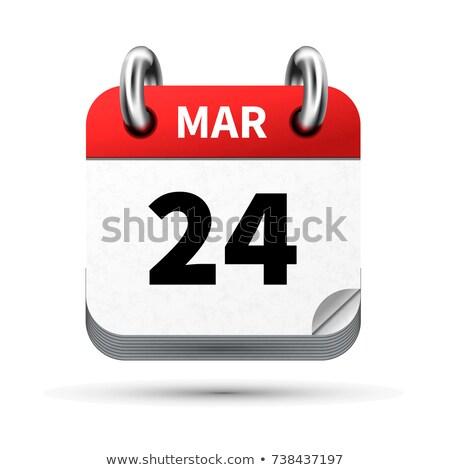 Luminoso realistico icona calendario 24 data Foto d'archivio © evgeny89
