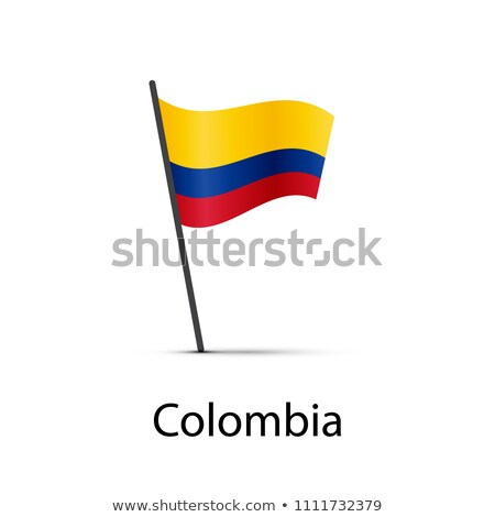 Colômbia bandeira pólo elemento branco Foto stock © evgeny89