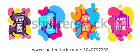 Abstract fluid shapes neon background with frame Stock photo © barsrsind