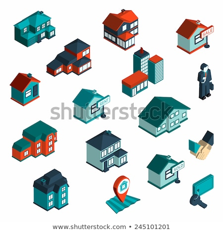 Auction Buying Isometric Icons Set Vector Stock photo © pikepicture