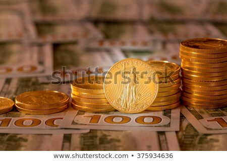 Köteg sas arany érmék boglya államkincstár pénzügy Stock fotó © backyardproductions