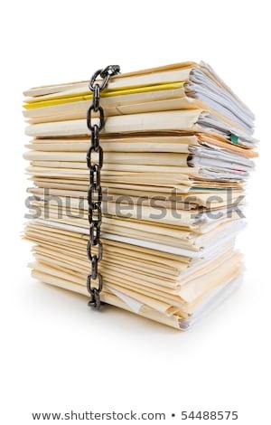 ストックフォト: チェーン · ファイル · スタック · 秘密の · 文書