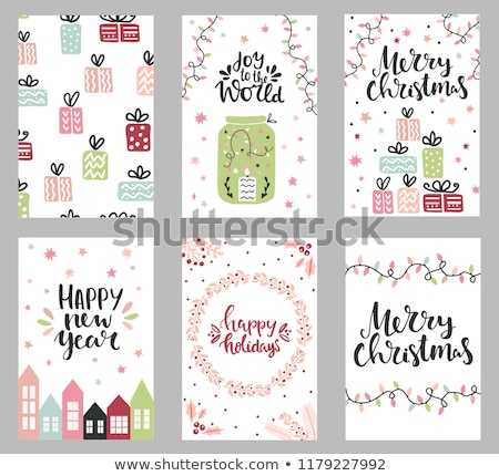 String of Christmas Cards on Red Stock photo © frannyanne