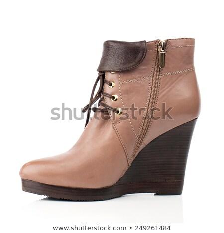 feminino · pernas · alto · marrom · couro · botas - foto stock © lubavnel