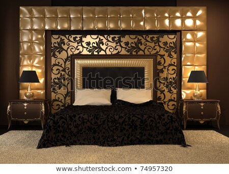 Stock photo: Front perspective of luxutiois double bed at royal apartment. Mo
