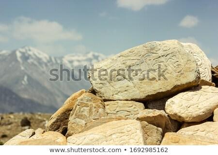 Tibetan prayer mani rock Stock photo © bbbar