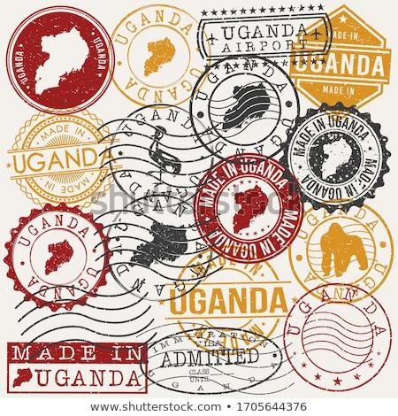 Posta Uganda kép bélyeg térkép zászló Stock fotó © perysty