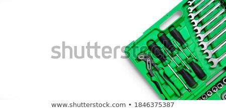 Tornavida bit ayarlamak beyaz Metal dişli Stok fotoğraf © artush