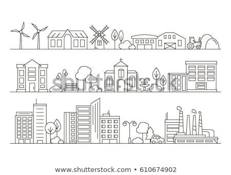 Сток-фото: вектора · икона · Cityscape · здании · окна · архитектура