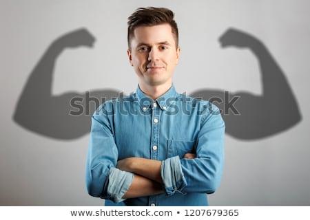 Jóképű vonzó fiatalember serdülőkor arc boldog Stock fotó © meinzahn