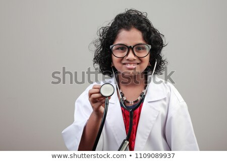 cute · nina · médico · estetoscopio · blanco · feliz - foto stock © photography33