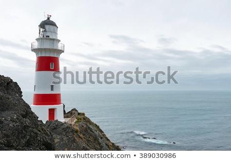 Piros fehér világítótorony holland fény tenger Stock fotó © michaklootwijk