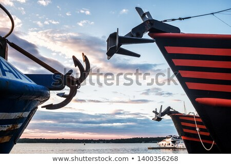 Anchored steel boat starboard side detail Stock photo © lunamarina