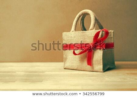 Stok fotoğraf: Hediye · çanta · şerit · ahşap · rustik