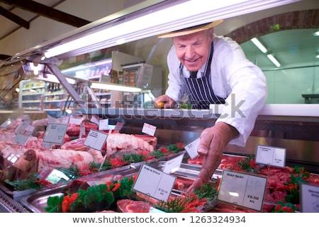 Kirakat bolt választék kolbászok étel bolt Stock fotó © Kzenon