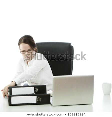 Genç esmer işkadını gözlük büro kadın Stok fotoğraf © sebastiangauert