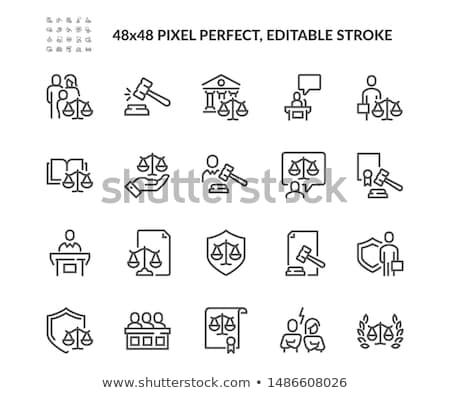 ley · justicia · sólido · iconos · de · la · web · vector · establecer - foto stock © glorcza