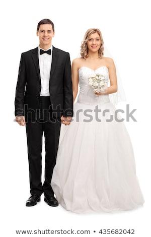 花嫁 · 新郎 · 孤立した · 白 · 結婚式 · 実行 - ストックフォト © nejron
