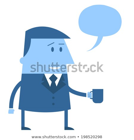 Cartoon Office guy with mug and speech balloon Stock photo © madebymarco