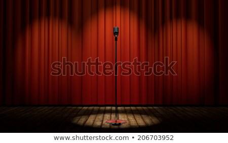 Foto stock: 3D · etapa · rojo · cortina · vintage · micrófono