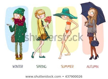 Cztery pory roku kobieta zimą niebo dziewczyna kobiet Zdjęcia stock © mike_kiev