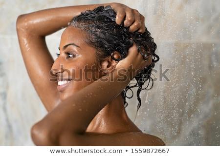 Lüks portre güzel kız kıvırcık saçlı altın mücevher Stok fotoğraf © fotoduki