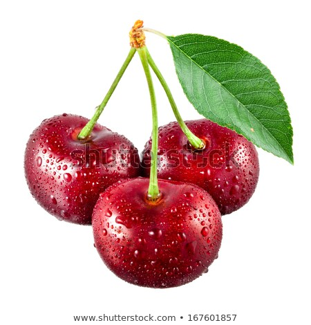 Foto stock: Three Wet Cherries
