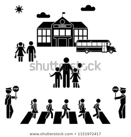 Gelukkig kinderen school iconen horizontaal kleurrijk Stockfoto © vectorikart