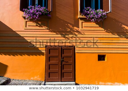 Orange maison façade bois fenêtre ville Photo stock © pixachi