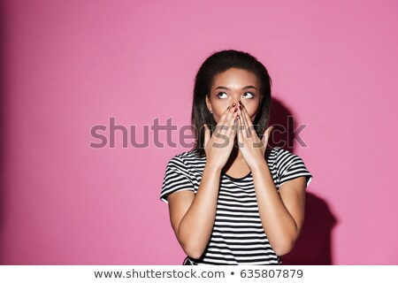 Afro american businesswoman covering her mouth Stock photo © deandrobot