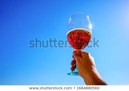Foto stock: Branco · cerveja · azul · blue · sky · festa · vidro