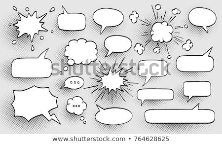 wow · szövegbuborék · kéz · rajz · fekete · jelző - stock fotó © tang90246