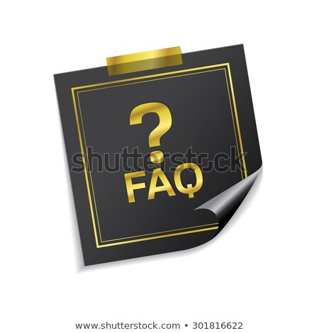 FAQ golden Haftnotizen Vektor Symbol Design Stock foto © rizwanali3d