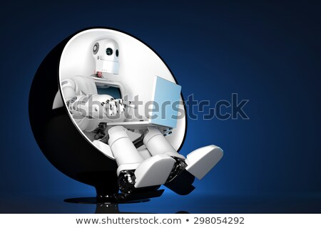 robot with laptop sitting in office chair isolated contains clipping path of entire scene and lapt stock photo © kirill_m