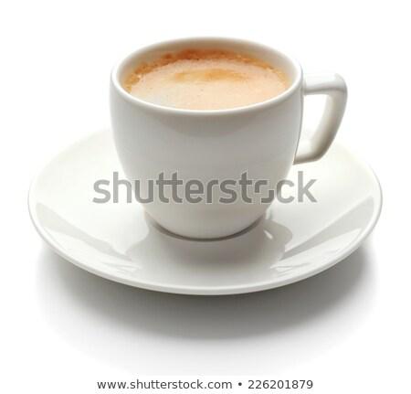 fincan · kaşık · fincan · tabağı · mavi · yalıtılmış · beyaz - stok fotoğraf © tetkoren