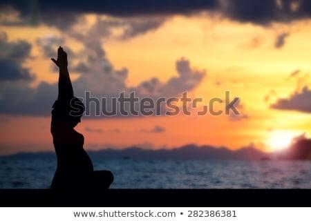 Сток-фото: беременна · йога · женщину · пляж · ребенка · здоровья
