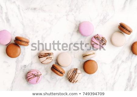 Fatto in casa macaron cookies tavola top view Foto d'archivio © stevanovicigor