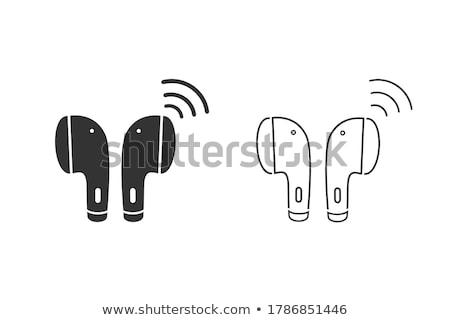 hoofdtelefoon · lijn · icon · vector · geïsoleerd · witte - stockfoto © rastudio