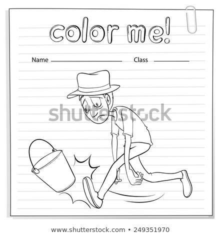 Recados homem balde branco estudante fundo Foto stock © bluering
