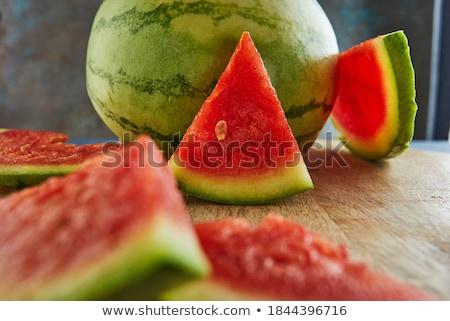 Stockfoto: Watermeloen · vruchten · rustiek · Blauw · houten · tafel