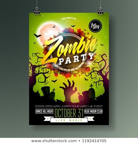 Halloween zombie partij poster sjabloon vakantie Stockfoto © WaD