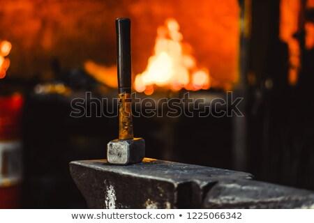 kovács · vasaló · üllő · hagyományos · kalapács · tűz - stock fotó © grafvision