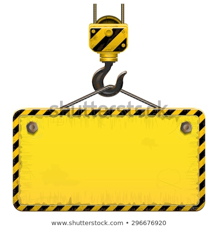 Vector of under construction signs and crane hooks Stock photo © adrian_n