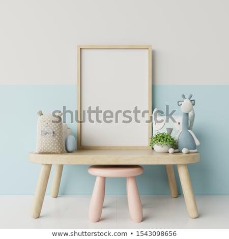 Stockfoto: Frame · meisje · roze · fan · witte · hout