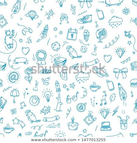 Stockfoto: School · doodle · naadloos · terug · naar · school · kleurrijk