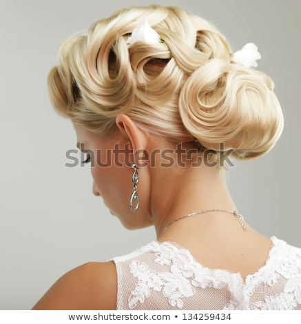 beautiful bride woman wedding portrait with curly hair style ma stock photo © victoria_andreas