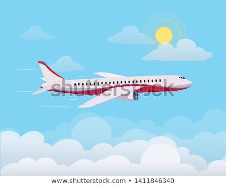 Avião voador globo oceano vermelho preto Foto stock © bluering