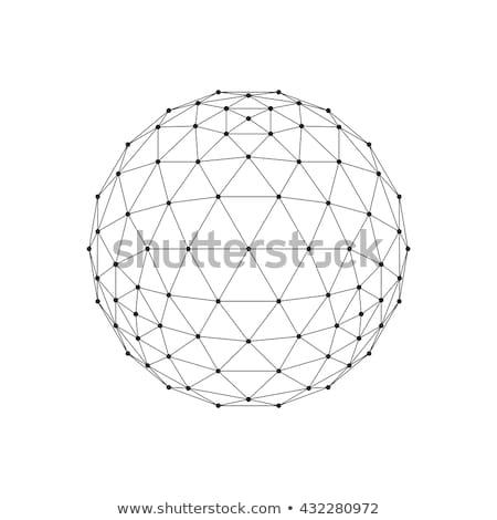 3D wireframe bol netwerk lijn Stockfoto © Said