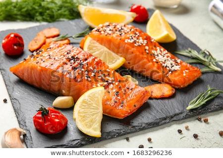 Saumon filet légumes restaurant déjeuner Photo stock © M-studio